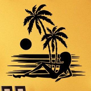 Samolepka na zeď Kráska na pláži 002 - 83x80 cm