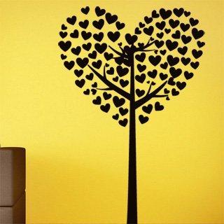 Samolepka na zeď Strom ze srdíček 0227 - 60x90 cm