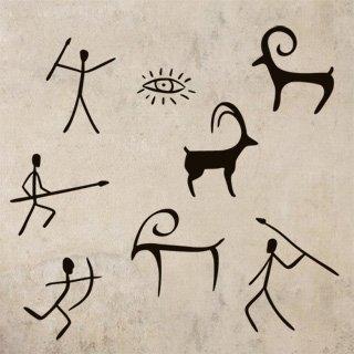 Nálepka na zeď Jeskynní lidé 005 - 120x114 cm