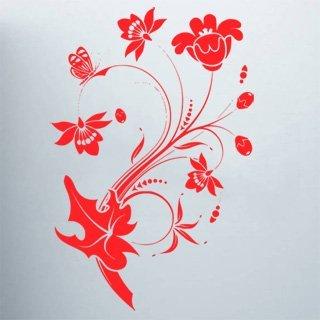 Samolepící dekorace Květiny s motýly 013 - 100x150 cm