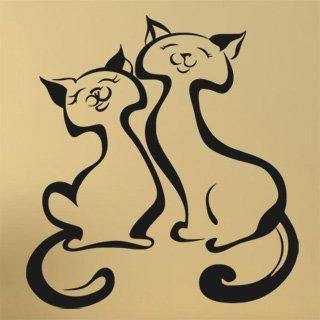 Samolepka Dvě kočky 0439 - 80x87 cm
