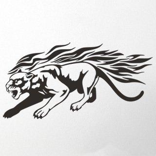 Samolepka Tygr s plameny 005 - 120x61cm