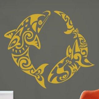 Samolepící dekorace Delfíni 001 - 100x86 cm