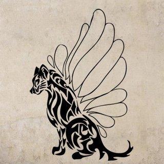 Samolepící dekorace Kočka s křídly 001 - 120x177 cm