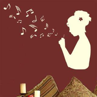 Samolepka Dívka s notami 001 - 106x80 cm