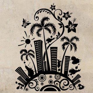 Samolepka na stěnu Město s palmami 0207 - 120x151 cm