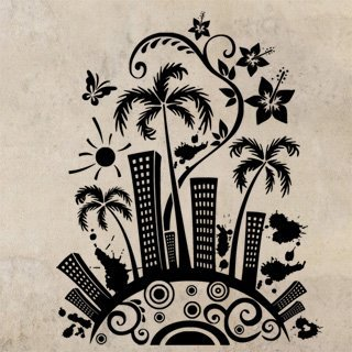 Samolepka Město s palmami 0207 - 80x100 cm