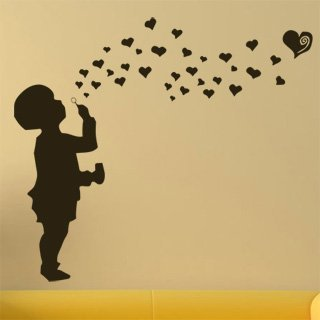 Samolepka na zeď Dítě s bublifukem 001 - 100x89 cm