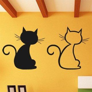Samolepka na zeď Dvě kočky 0440 - 120x60 cm