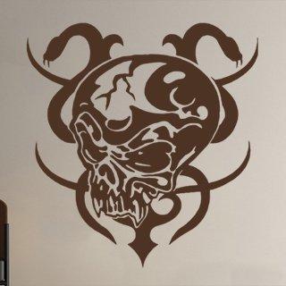 Samolepka na stěnu Lebka s hady 001 - 120x127 cm