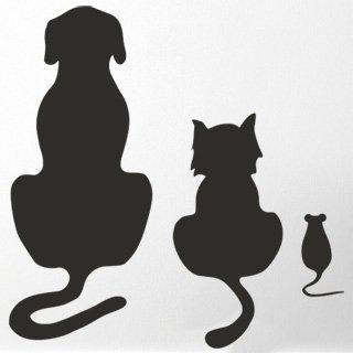 Nálepka na zeď Kočka a pes 002 - 120x123 cm