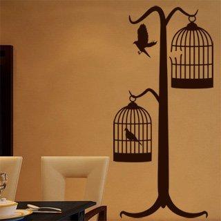 Nálepka na zeď Ptáci v kleci 001 - 100x214 cm