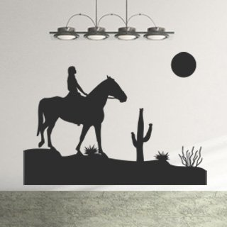 Nálepka na zeď Dívka na koni 001 - 137x100 cm