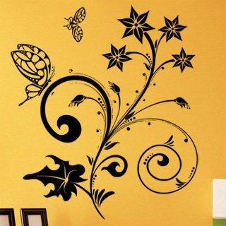 Samolepící dekorace Květiny s motýly 018 - 106x120 cm