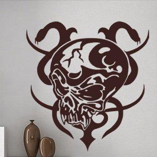 Samolepící dekorace Lebka s hady 001 - 100x106 cm