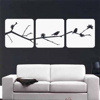 Nálepka na zeď Větev s ptáky 001 - 316x100 cm