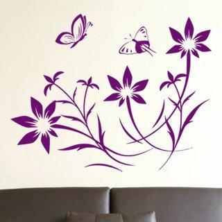 Samolepka na zeď Květiny s motýly 008 - 76x60 cm