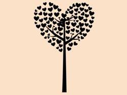 Samolepky na zeď Strom ze srdíček 0227