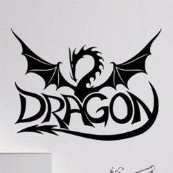 Samolepky na zeď Drak a nápis Dragon 1265