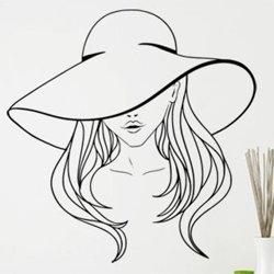 Samolepky na zeď Žena s kloboukem 1078