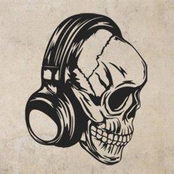Samolepky na zeď Lebka se sluchátky 1180