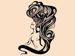 Samolepky na zeď Nahá žena s dlouhými vlasy 1094