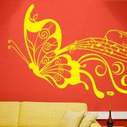 Samolepky na zeď Motýl s notami 001
