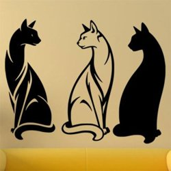 Samolepky na zeď Tři kočky 0458