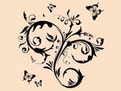 Samolepky na zeď Květiny s motýly 010