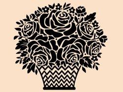 Samolepky na zeď Košík s růžemi 001
