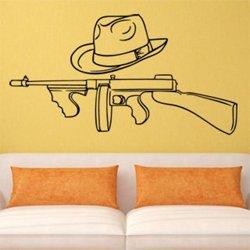 Samolepky na zeď Gangsterská zbraň a klobouk 1122