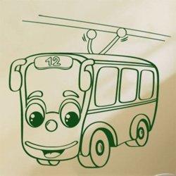 Samolepky na zeď Autíčko trolejbus 0781