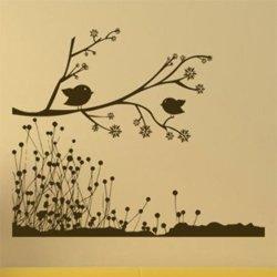 Samolepky na zeď Větev s ptáky 004
