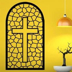 Samolepky na zeď Mozajkové okno s křížem 1377