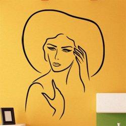 Samolepky na zeď Žena v klobouku 1093