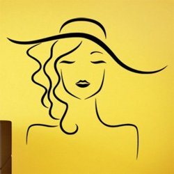 Samolepky na zeď Žena v klobouku 1092