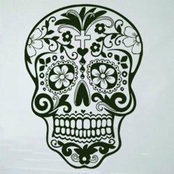 Samolepky na zeď Květinová lebka 001
