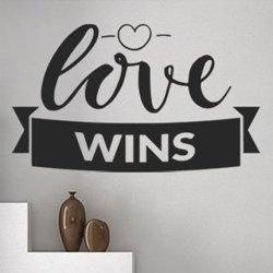 Samolepky na zeď Nápis Love wins 0648