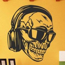 Samolepky na zeď Lebka DJe se sluchátky 1178