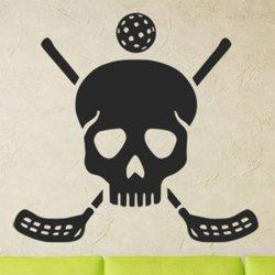 Samolepky na zeď Florbalové hokejky a lebka 1116