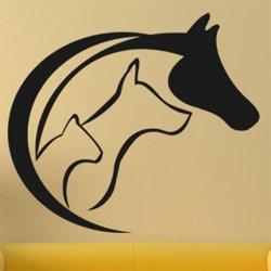 Samolepky na zeď Kočka, pes a kůň 0545