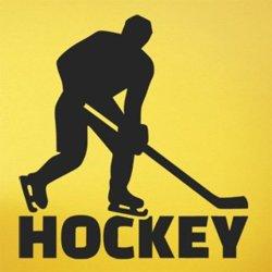 Samolepky na zeď Nápis Hockey s hokejistou 0697