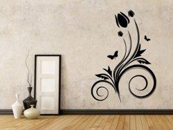 Samolepky na zeď Květiny s motýly 021