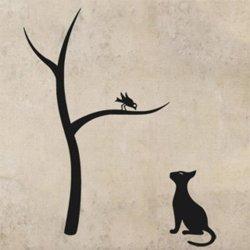 Samolepky na zeď Kočka a strom 0441
