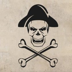 Samolepky na zeď Lebka piráta s kostmi 1169