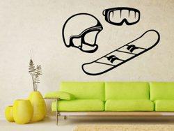 Samolepky na zeď Snowboard, helma a brýle 0973