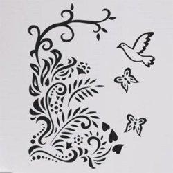 Samolepky na zeď Větev s ptáky 005