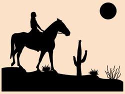 Samolepky na zeď Dívka na koni 001