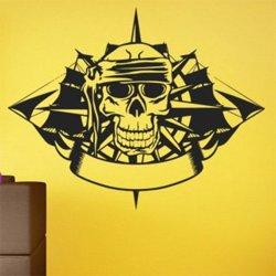 Samolepky na zeď Lebka s loděmi 0918