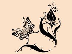 Samolepky na zeď Květiny s motýly 007
